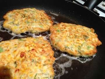 Sweetcorn fritters with smoked salmon