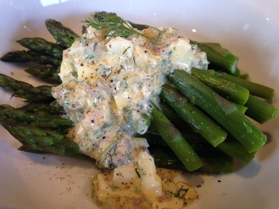 Asparagus with shallot, egg and anchovy sauce