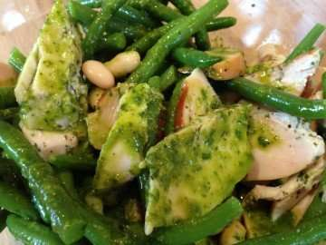 Smoked chicken and bean salad with basil and lime dressing