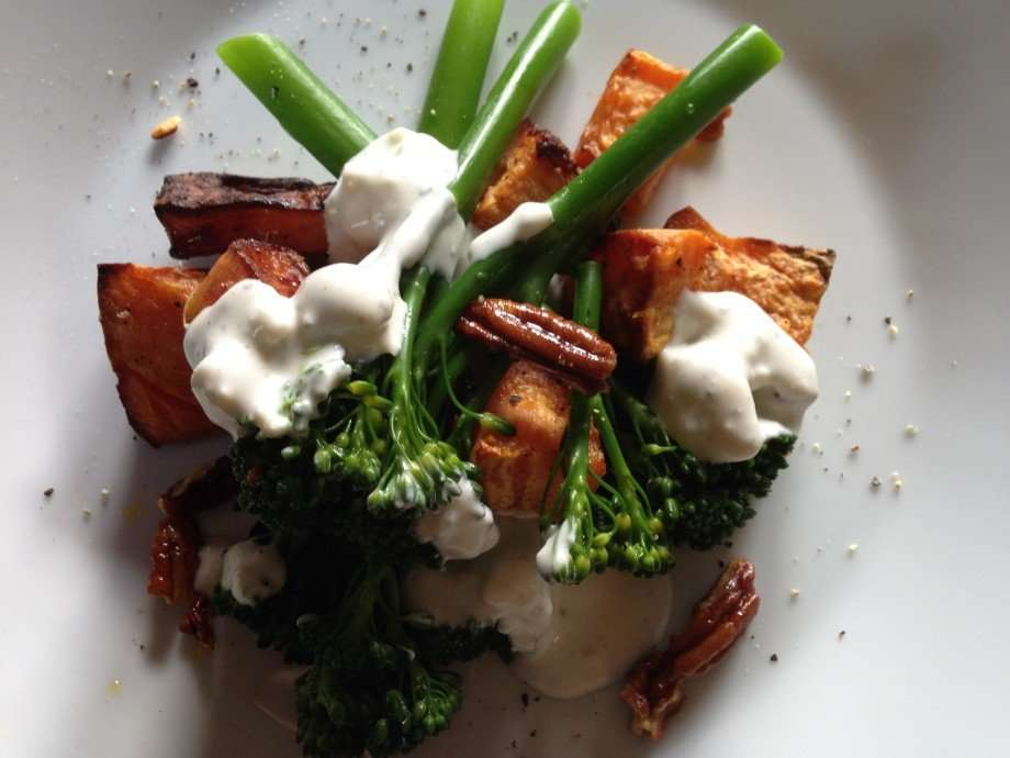 Sweet potato and broccoli salad with a blue cheese dressing