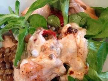 Flaked salmon and lentil salad with smoky yogurt