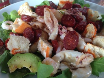 Squid, chorizo and prawn salad