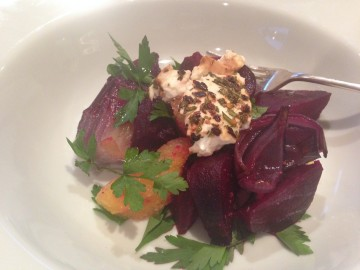 Roasted beetroot, red onion and orange salad with baked feta
