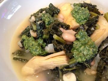Cavolo nero, white bean and artichoke stew with salsa verde