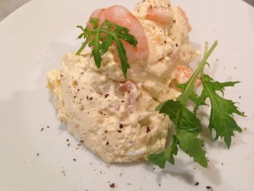 Curried prawn and egg mousse