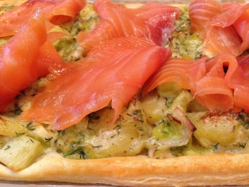 Leek, potato and smoked salmon tart
