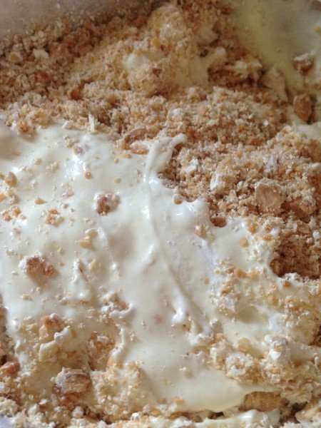 Frozen nougat and white chocolate parfait