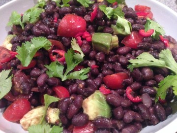 Black beans, black garlic and avocado salad