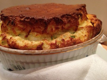 Cheese and chive soufflé