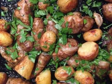 Roasted Jerusalem artichokes and new potatoes