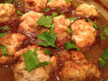 Beef braised in stout with horseradish dumplings