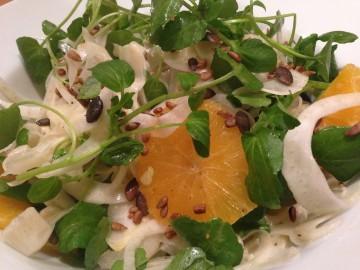 Crunchy fennel, orange and watercress salad with yuzu dressing.