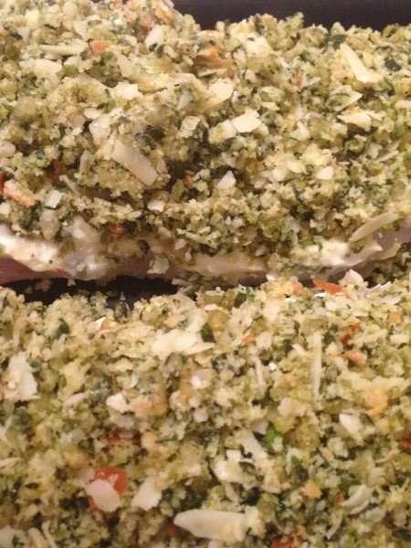 Basil and brioche-crusted fish