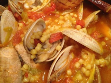 Fregola with clams and chorizo