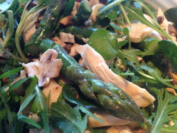 Asparagus, mushroom and chicken salad with miso lime dressing