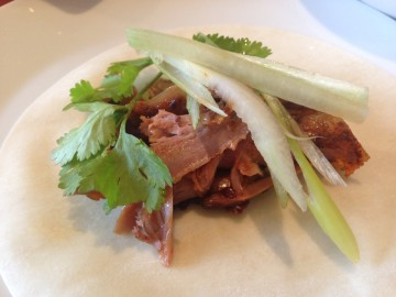 Chinese spiced duck pancakes