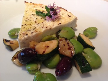 Baked ricotta with broad bean and courgette salad