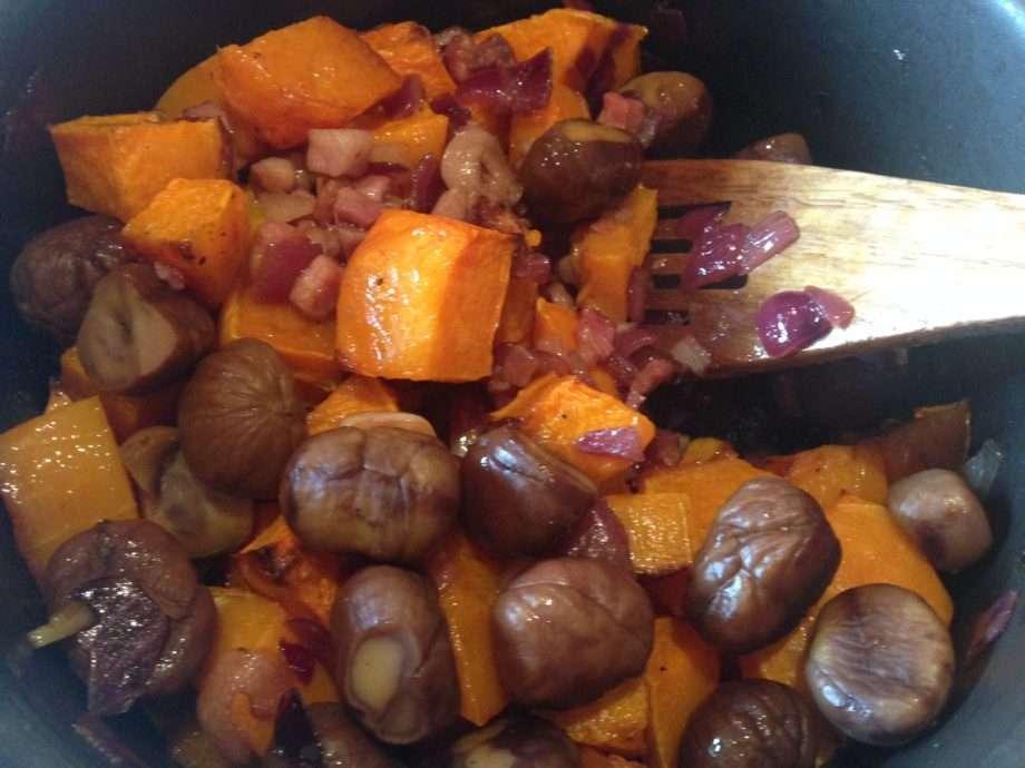 Butternut squash, chestnut and pancetta soup