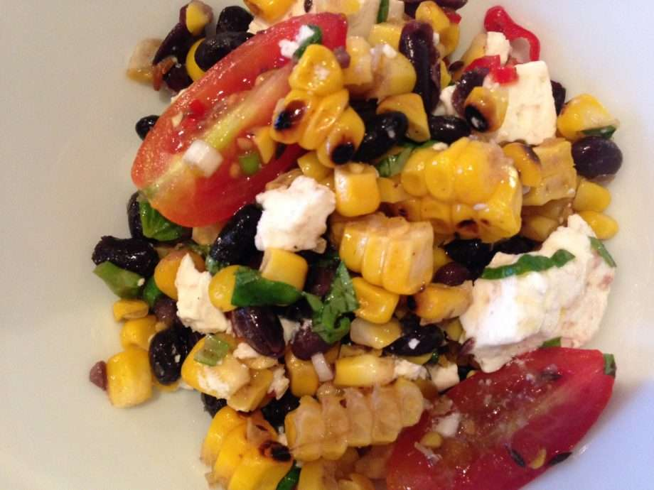 Char-grilled corn salad with black beans and feta