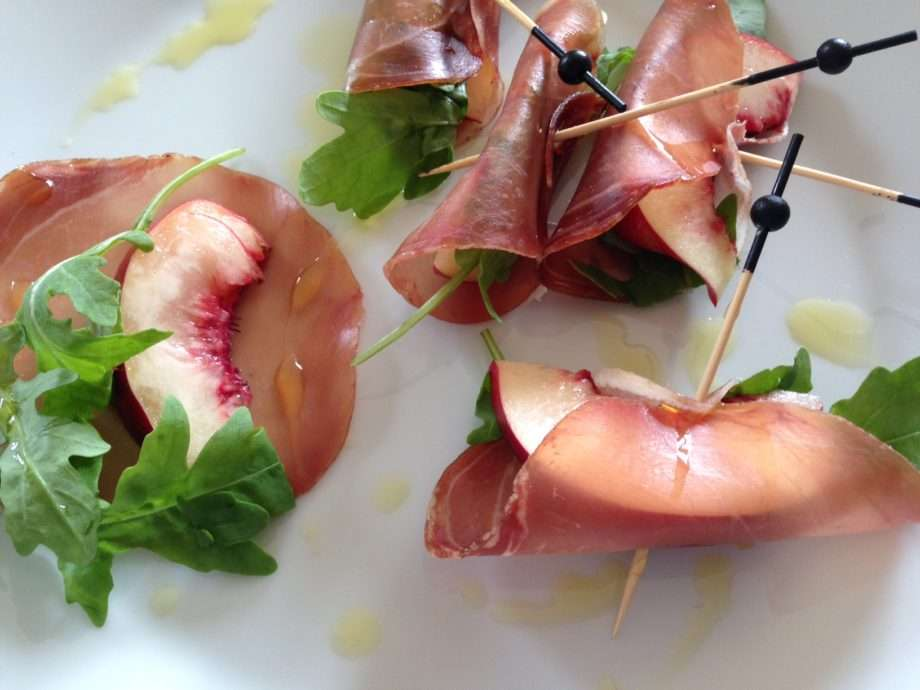 Nectarine and proscuitto bundles