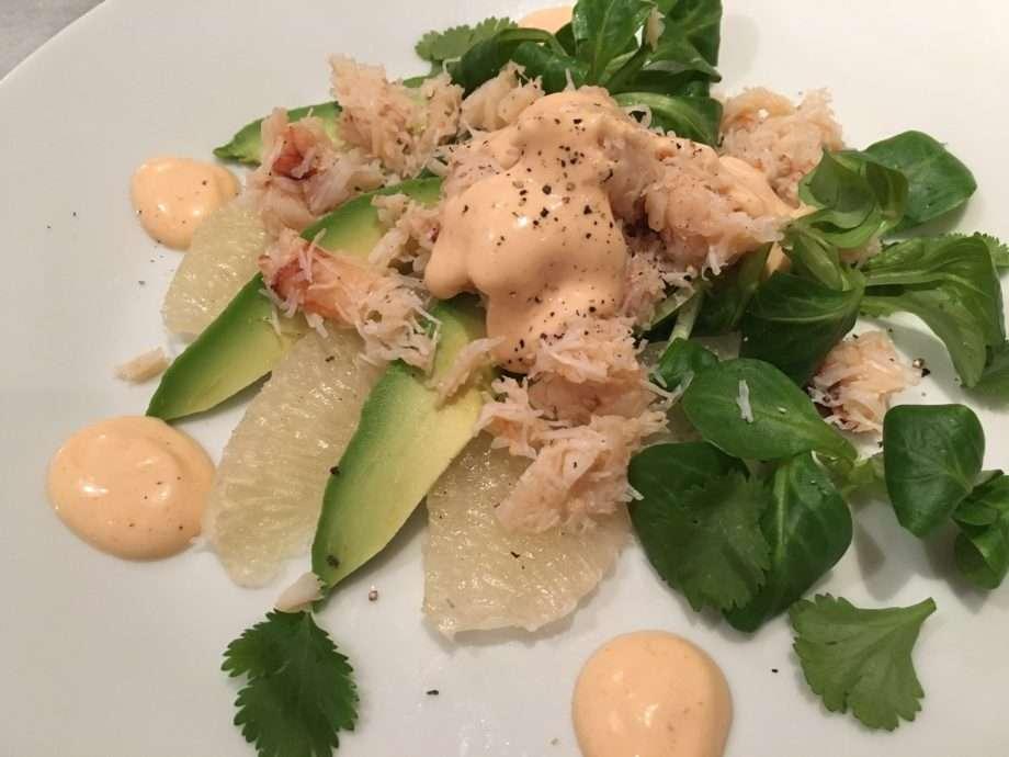 Crab, pomelo and avocado salad with sriracha dressing