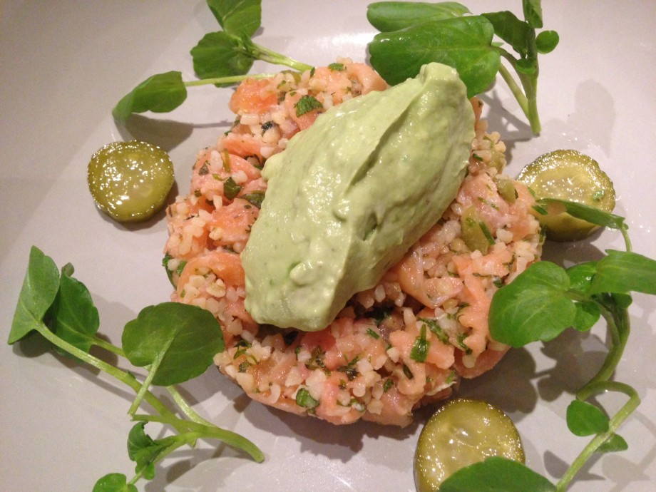 Salmon and smoked salmon kibbeh with avocado cream