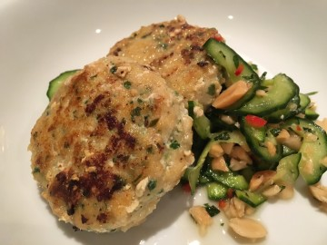 Thai fish cakes with cucumber and peanut salad