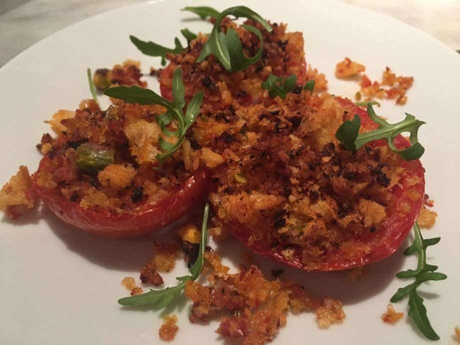 Tomato and chorizo crumble