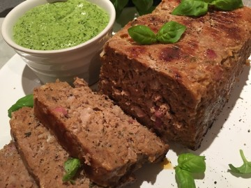 Italian meatloaf with herb salsa