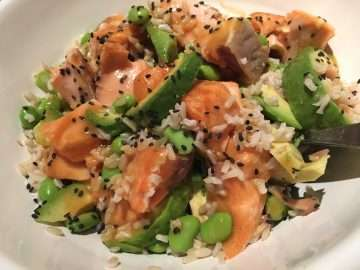 Miso salmon rice bowl
