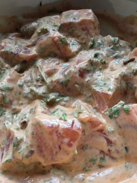Smoky salmon skewers with charred baby gems and avocado salad