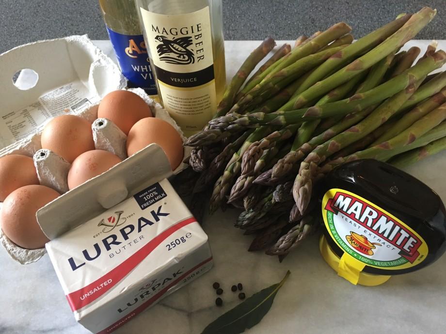 Asparagus with Marmite hollandaise sauce