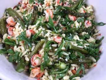 Roasted asparagus, orzo and crayfish salad