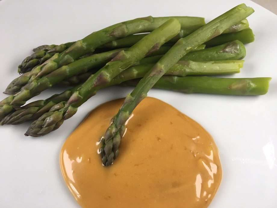 Asparagus with Marmite hollandaise sauce