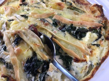 Rainbow chard, potato and cheese bake