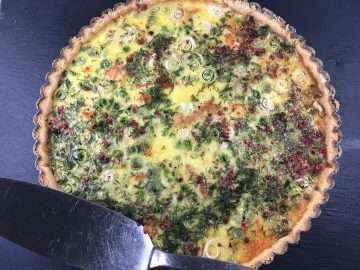 Salmon, pea and pink peppercorn tart