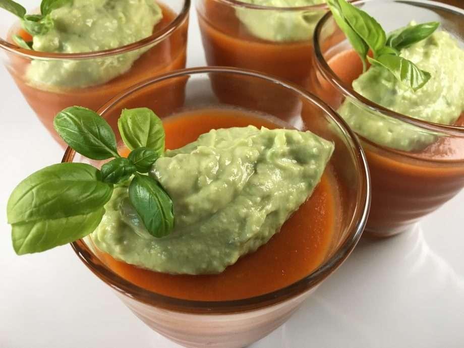 Gazpacho jelly with avocado cream