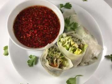 Rice paper crab rolls with chilli dipping sauce