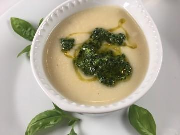 White bean and leek soup with kale pesto