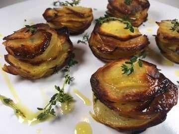 Truffled potato stacks