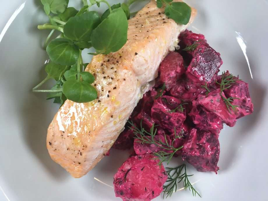 Salmon with beetroot, potato and horseradish salad