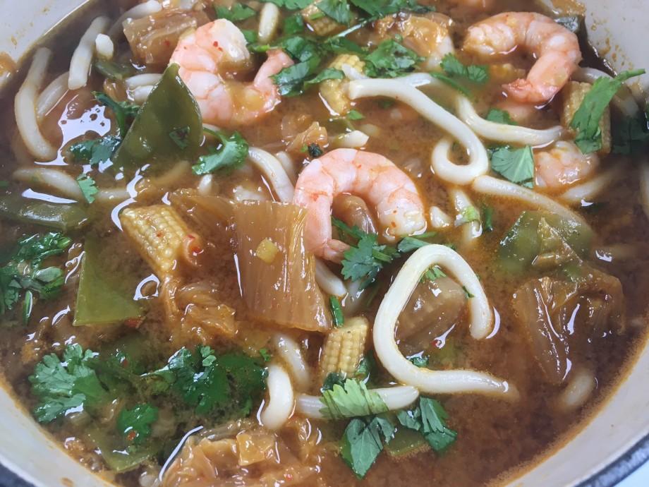 Prawn, kimchi and noodle soup
