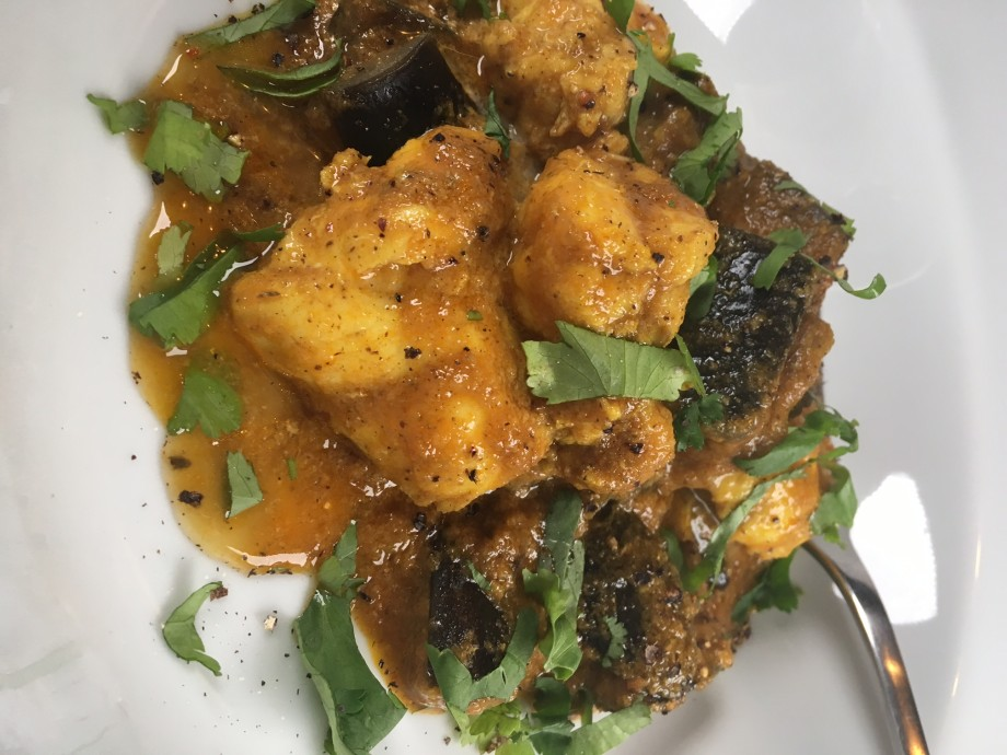Monkfish and aubergine curry