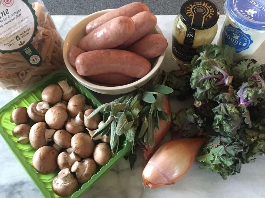 Sausage, mushroom and kalette pasta
