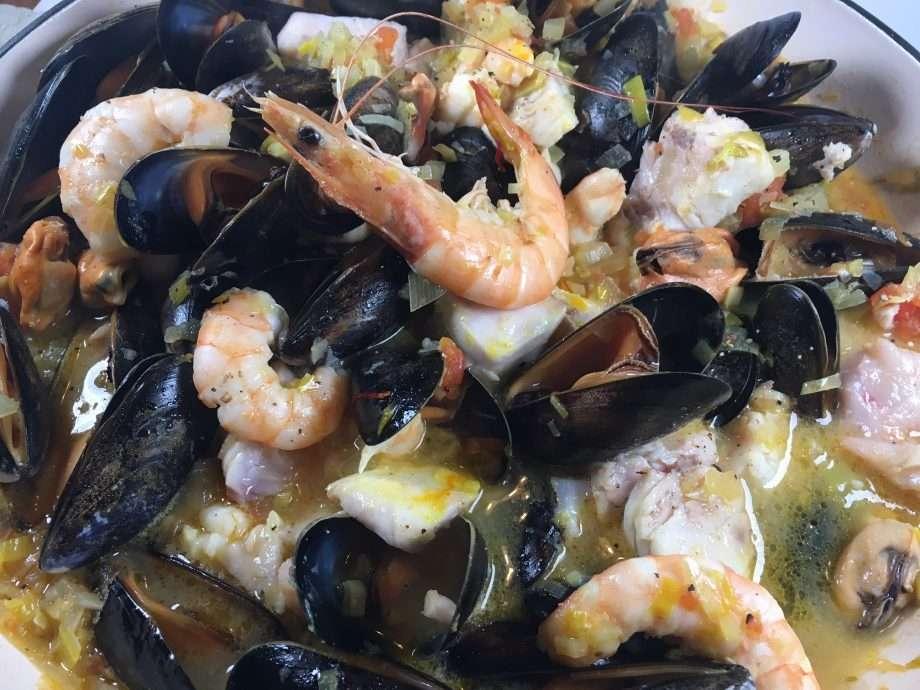 Fish soup with smoked garlic and lemon aioli