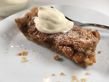 Macadamia, maple and bourbon tart