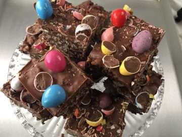 Malted chocolate crispy squares
