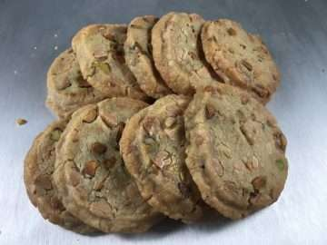 White chocolate and pistachio cookies
