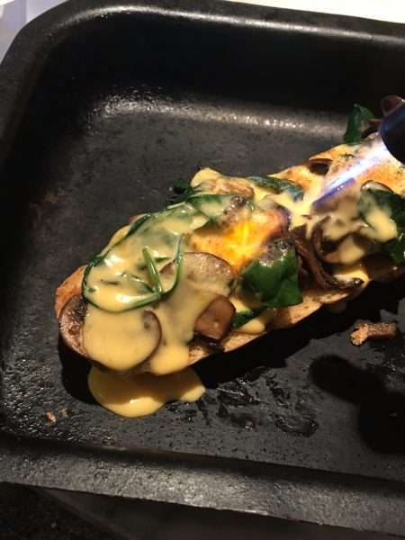 Mushroom and spinach on brioche with glazed hollandaise