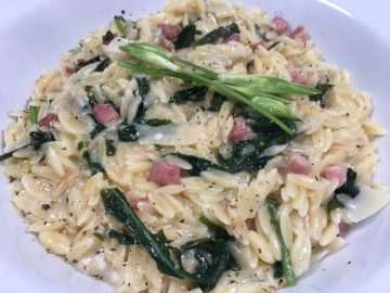 Lemon and wild garlic orzo risotto